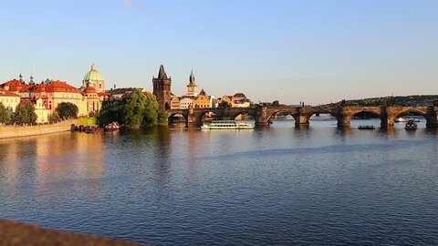 Charles Bridge over the Vltava River in Prague