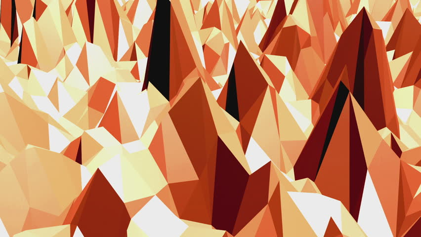 Polygonal mosaic background with vertex, spikes in cartoon modern 3D design. Abstract transforming orange low poly surface as unique background in stylish low poly design. Orange low poly.