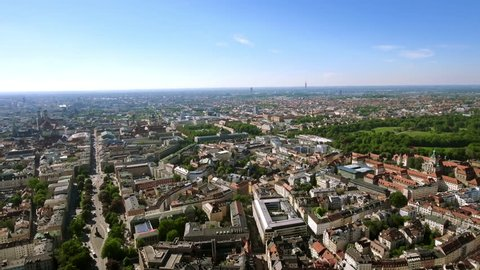 4K New Munich Skyline Cityscape Aerial Video with Iconic Landmarks in Germany
