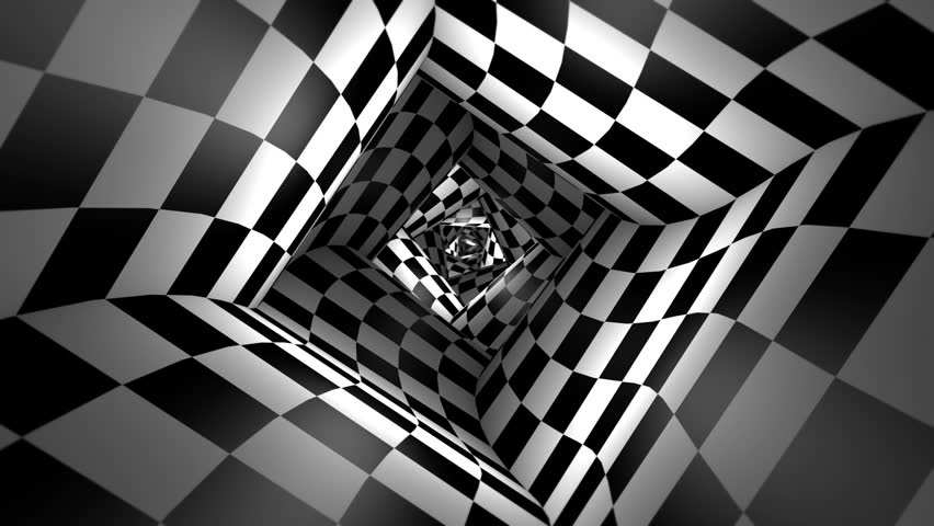 Red ball in a square chess tunnel (chess metaphor). The space and time. Cyclical 3D animation. Available in high-resolution and several sizes to fit the needs of your project. Seamless Looping.  | Shutterstock HD Video #27236554