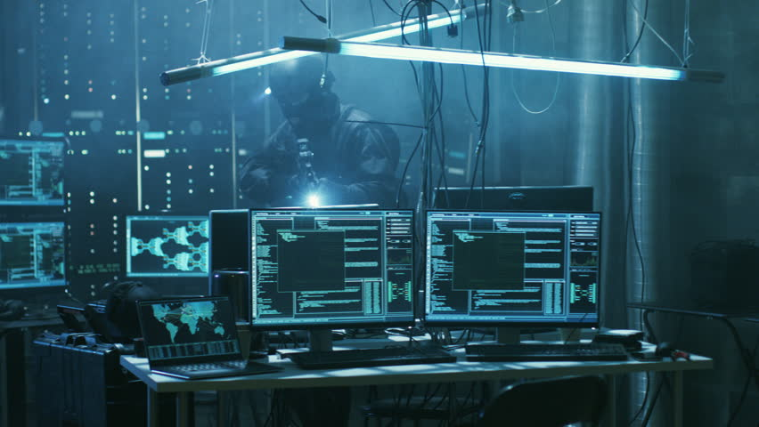 Special Forces Armed Soldier Searches Hacker's Secret Hideout, He's Ready To Shoot. He Searches the Place and Sees Multiple Working Displays, Cables. Shot on RED EPIC-W 8K Helium Cinema Camera. | Shutterstock HD Video #27246214