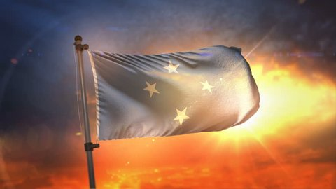 Federated States of Micronesia Flag Backlit At Beautiful Sunrise Loop Slow Motion 4K