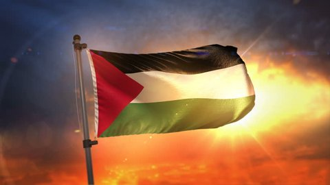 Palestine Flag Backlit At Beautiful Sunrise Loop Slow Motion 4K