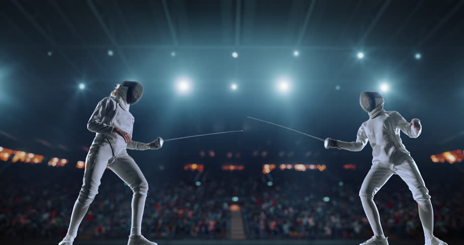 4K video in slow motion of two female fencing athletes. The action takes place on professional sports arena with spectators and lense-flares. Women wear unbranded sports clothes. Arena is made in 3D. | Shutterstock HD Video #27274324