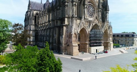 France, Marne, Reims, Aerial view of Notre-Dame de Reims cathedral, listed as World Heritage by UNESCO