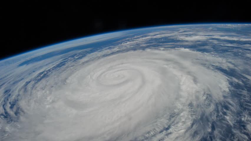 Breathtaking satellite view of a large hurricane / typhoon