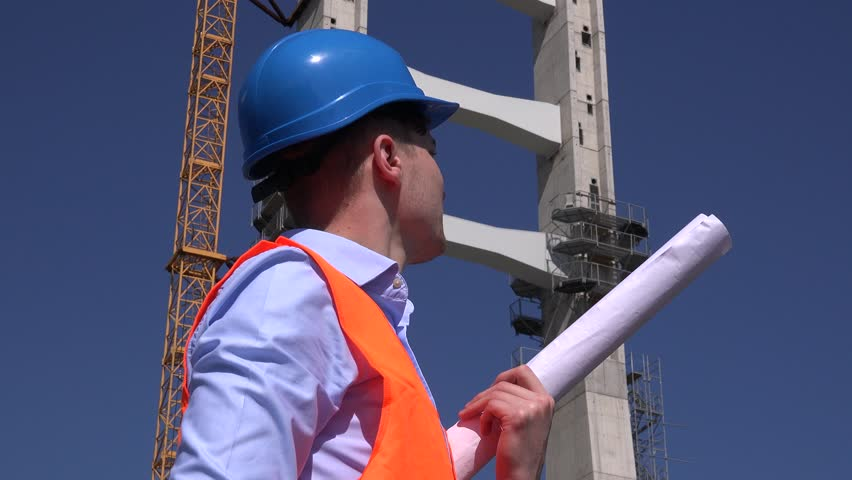 Infrastructure builder with blueprint sightseeing construction site happy engineer holding construction blueprints architect outdoors checking site 4k stock video clip malvernweather Gallery