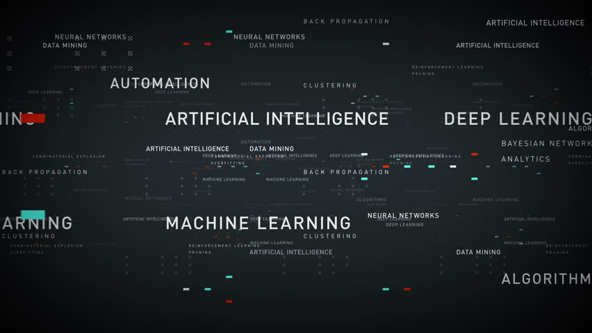 Keywords Artificial Intelligence Silver - Important terms about artificial intelligence drift through cyberspace. All clips are available in multiple color options. All clips loop seamlessly.