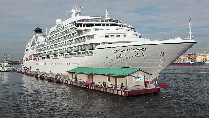 SAINT-PETERSBURG, RUSSIA - CIRCA AUGUST 2012: The Seabourn Sojourn ship is on Saint-Petersburg English embankment circa August 2012 in Saint Petersburg, Russia