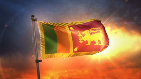 Sri Lanka Flag Backlit At Beautiful Sunrise Loop Slow Motion 3D Rendering 4K