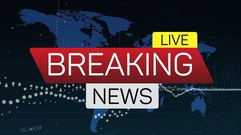 Breaking news live motion banner on worldmap. Business technology world news background splash screen. Available in 4K FullHD and HD video render footage.