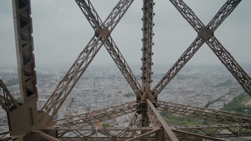 Wonderful view of Paris from moving Eiffel Tower Lift | Shutterstock HD Video #27506014