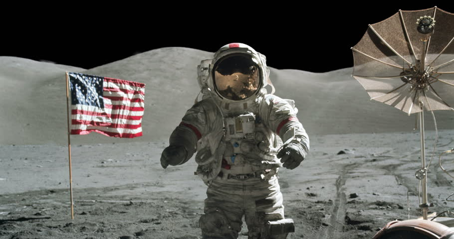Astronaut Moon Landing Apollo Mission with American Flag Zoom In, 4K some elements furnished by NASA images