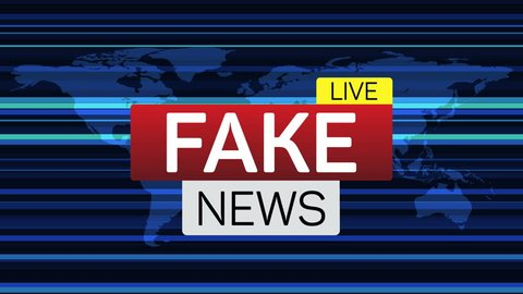 Fake news live banner on worldmap. Business technology world news background. Available in 4K FullHD and HD video render footage.