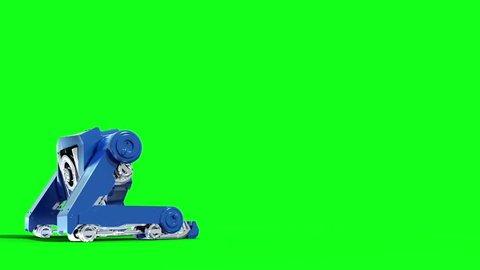 Giant Mech Robot Shoots Front Green Screen 3D Rendering Animation