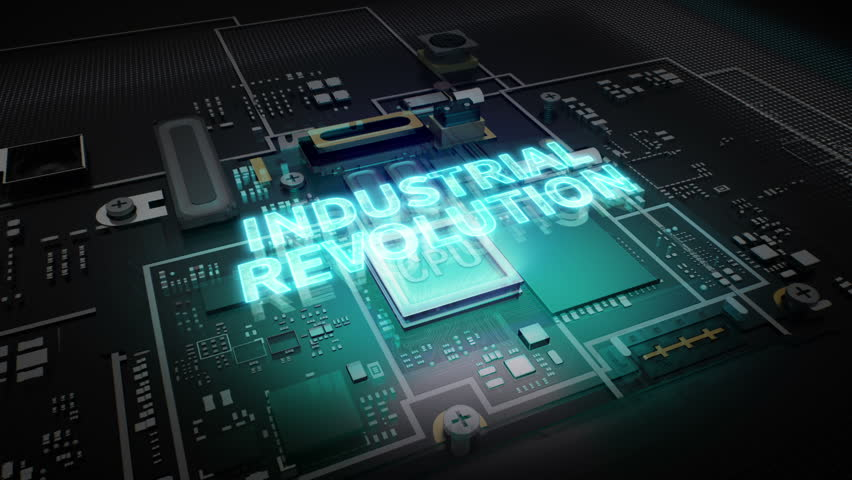Hologram typo 'Industrial Revolution' on CPU chip circuit, grow artificial intelligence technology. | Shutterstock HD Video #27545908