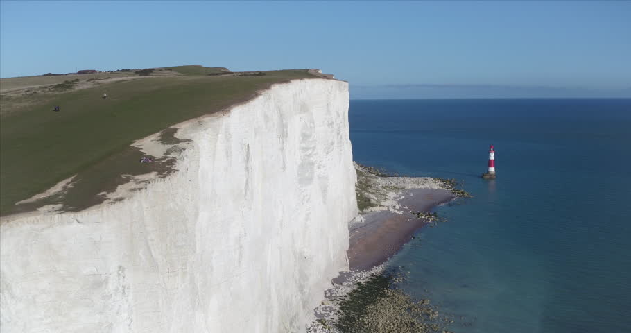 United Kingdom, East Sussex, Eastbourne, Beachy Head lighthouse, Seven Sisters coastline, white chalk cliffs of Beachy Head