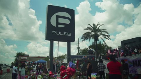 Orlando FL, United State of America, Pulse memorial. Orlando United sign. June 30, 2016. Outside in front of Pulse. Pulse sign. Pulse nightclub.