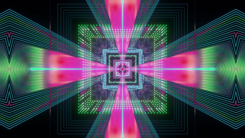 Seamless and colorful motion graphics looped. Colorful Kaleidoscopic Video Background. Suited for VJ's software, video mixes, night clubs, events and video mapping shows.