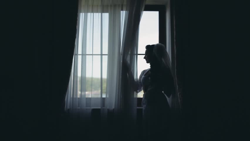 Silhouette of young bride in white peignoir staying near window. Woman looks at distance, morning before wedding. | Shutterstock HD Video #27561304