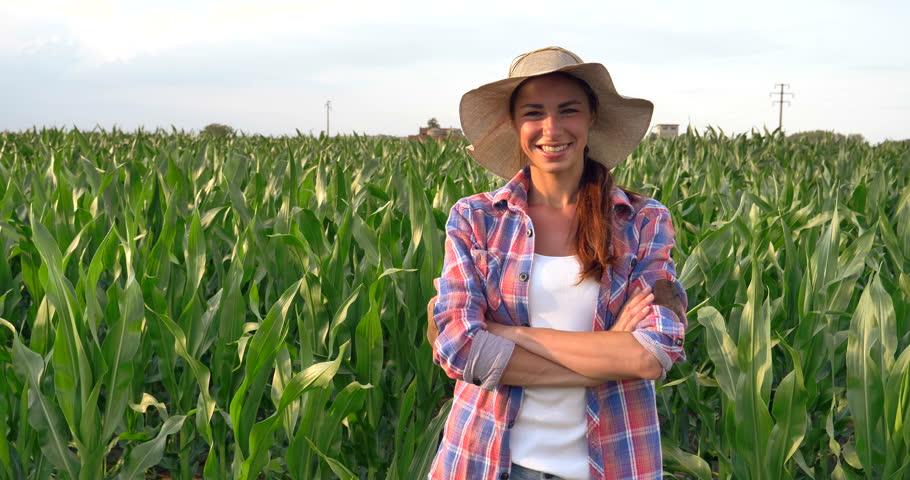 Beautiful Girl Woman Farmer Smiling, Stock Footage Video 100 Royalty-Free -7770