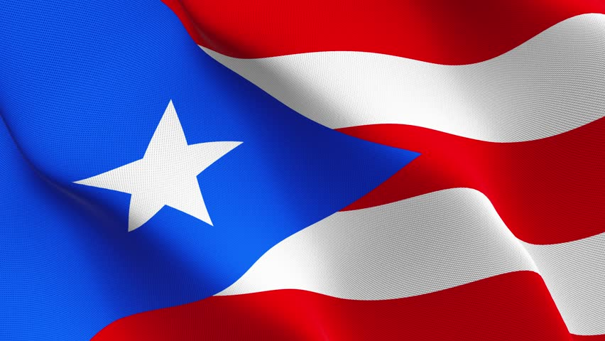 Puerto Rico US State flag waving seamless loop in 4K and 30fps. United States of America puerto rico loopable flag with highly detailed fabric texture.