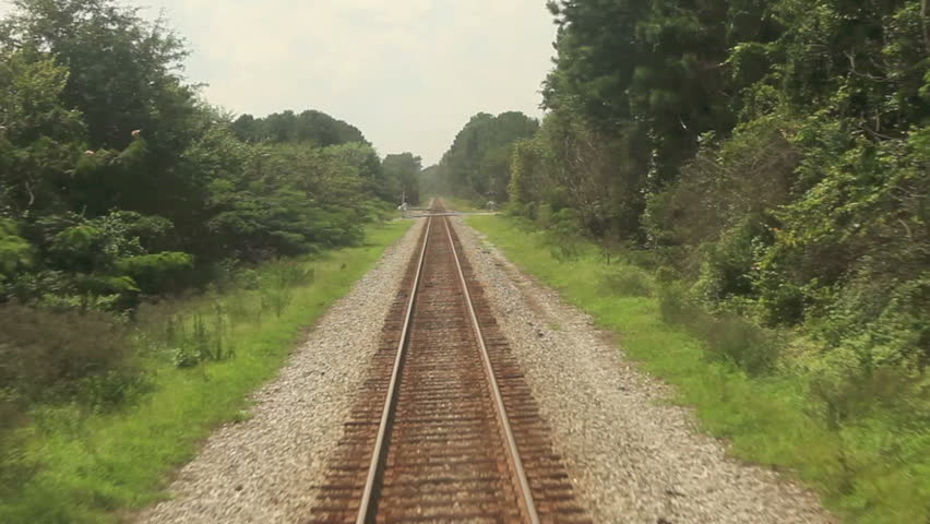 point of view footage of train moving along tracks