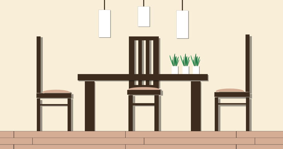 Stock Video Of Modern Dining Room Interior Cartoon Animation