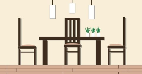 Modern Dining Room Interior Cartoon Stock Footage Video 100