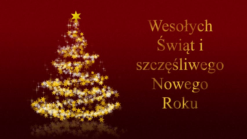 4k0025christmas tree with glittering stars on red background with seasons greetings merry christmas and a happy new year polish version - How To Say Merry Christmas In Polish
