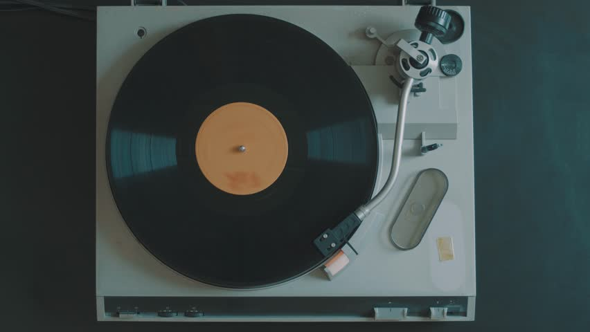 Cinemagraph Loop Vintage Vinyl Turntable Record Player From Top | Shutterstock HD Video #27656704