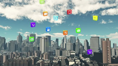 4k,Update the informative to cloud,download data to urban building,upload and downloading progress,web background,virtual internet concept,on-line services, social media icons floating up.cg_03908_4k