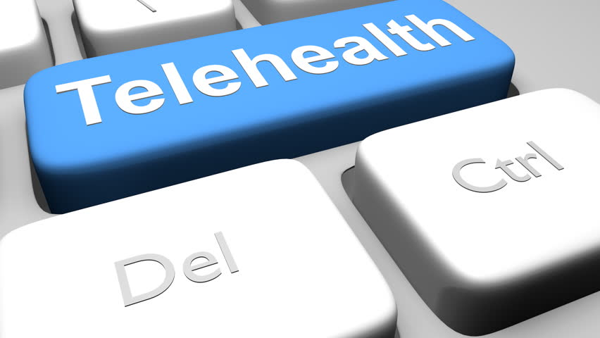 "3D illustration of a computer keyboard with the script ""Telehealth"" on blue button. Remote health services concept. 