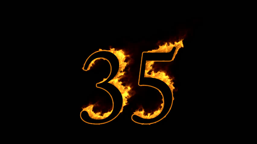 Fire Number 35 On Black Stock Footage Video 100 Royalty