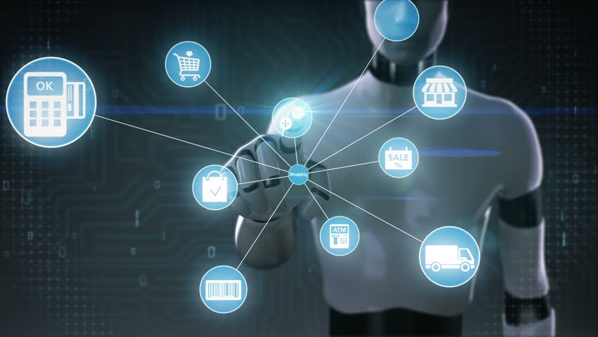Robot, cyborg touching screen, Internet shopping icon connect global world map, grow online commerce network.2. | Shutterstock HD Video #27742384