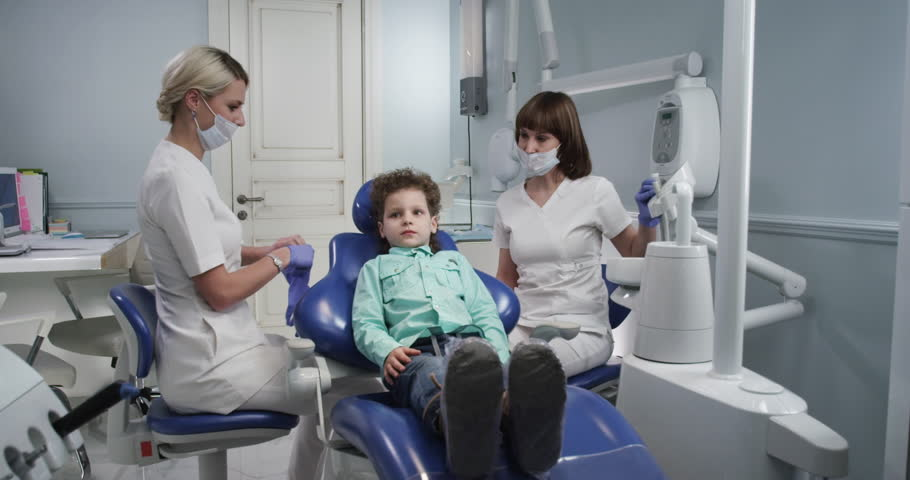 The preparation of the child for examination by a doctor in a modern dental office #27742714
