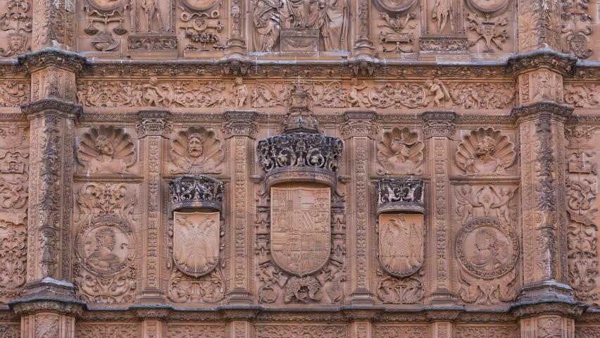 Plateresque facade in University of Salamanca, Salamanca city, Salamanca province, Castilla y Leon, Spain, Europe