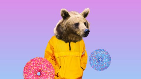 Fashion Bear in human clothes. Donuts dream vibes Surreal art design