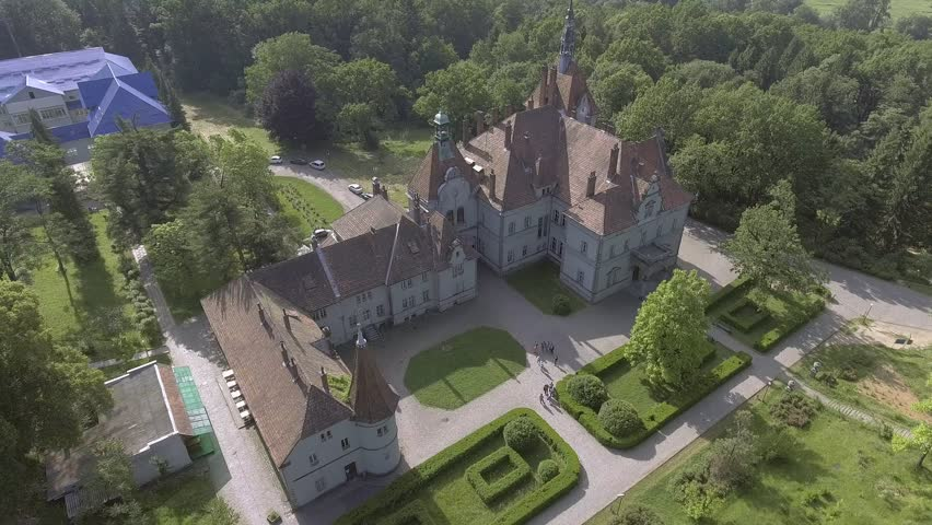 Flying over Shenborn castle, Ukraine. Romantic fairytale mansion in the French style. It is one of the most beautiful monuments of the 19th century.