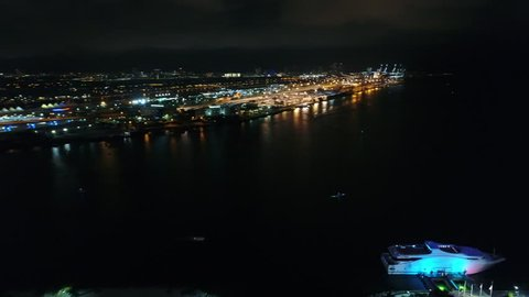 MIAMI, FL, USA - JUNE 11, 2017: Aerial movie footage of the Intercontinental hotel shot with a drone 4k 24p