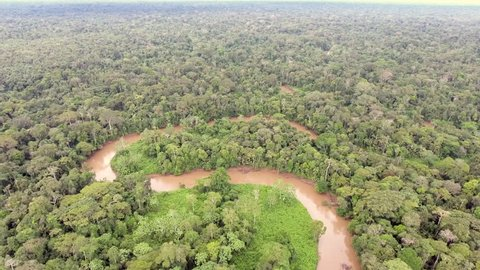 Descending to Rio Shiripuno, a tributary of the Amazon, meandering through pristine tropical rainforest in the Ecuadorian Amazon