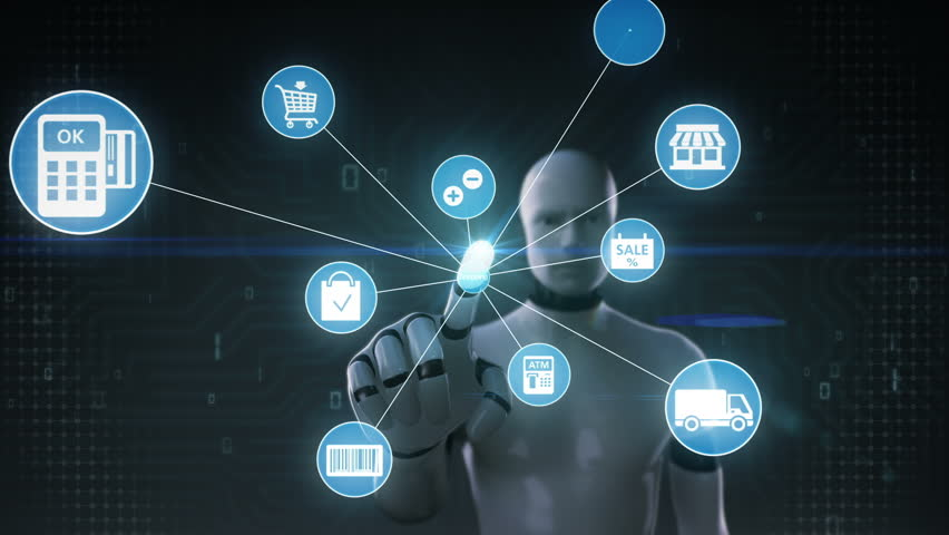 Robot, cyborg touching screen, Internet shopping icon connect global world map, grow online commerce network. | Shutterstock HD Video #27780724