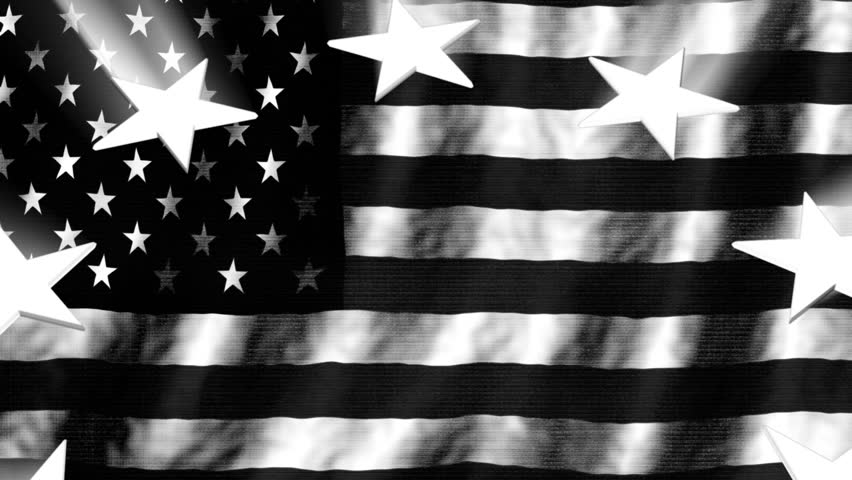 Black And White Retro American Flag And Stars With Light Rays Looping