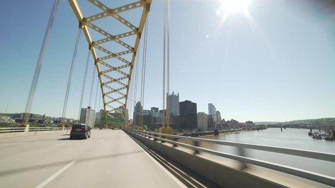 Pittsburgh Entrance Fort Pitt Bridge Sunny Summer Aerial time lapse 4K