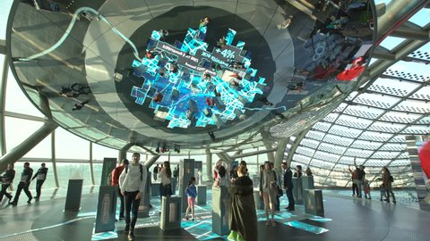ASTANA, Kazakhstan - June 10, 2017: Expo pavilion with futuristic screen of future energy concept