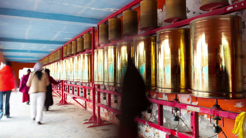 Bronze prayer wheel spinning in the Lama Temple,sichua,china, timelapse