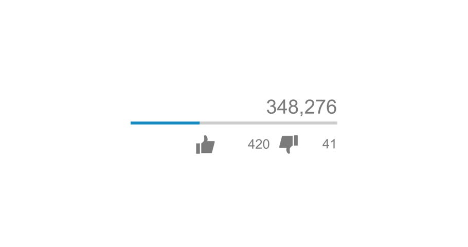 Animation of video views counter, counter of likes and dislikes close up. 4K video. Animation with alpha matte. Version with zoom   Shutterstock HD Video #27889444