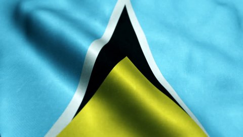 Flag of Saint Lucia Beautiful 3d animation of Saint Lucia flag in loop mode
