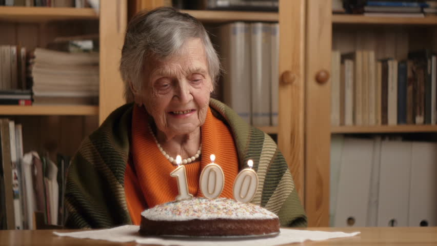 Sad Grandma At Her 100th Birthday Stock Footage Video