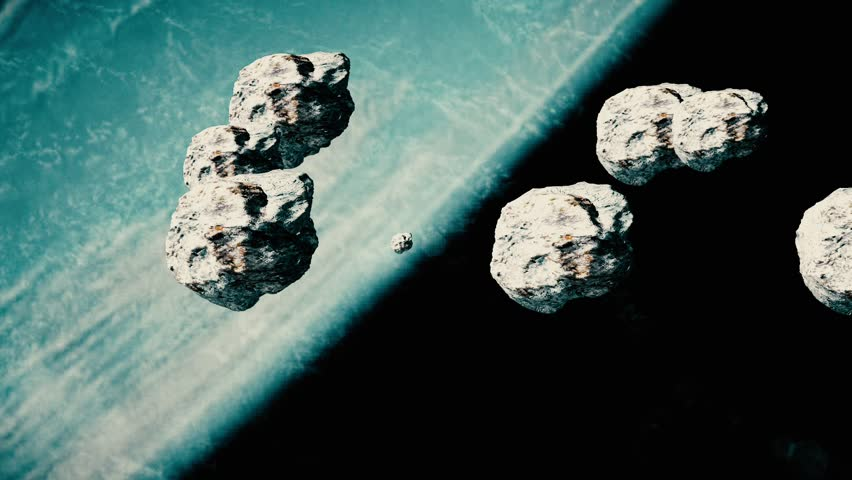 Earth and Asteroids. Nebula of the Cosmic Sky. Meteors in space. The space scene. Deep space. Asteroids. Meteors. | Shutterstock HD Video #27899668